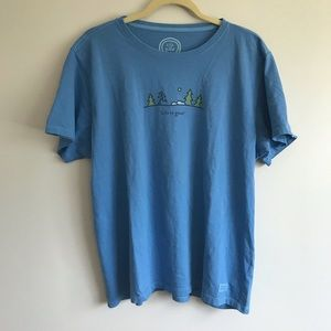Life is Good Blue Forest Running T- shirt